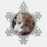 Meow Cats Snowflake Pewter Christmas Ornament