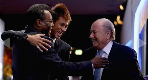 Neymar, Pelé and Joseph Blatter, at FIFA's Balon d'Or 2011-2012 awards