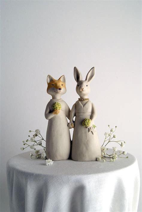 Fox & Rabbit Wedding Cake Topper   Aisle Society