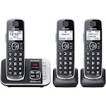 Panasonic Cordless Phone with Link to Cell and Digital Answering Machine, Black - 3 count
