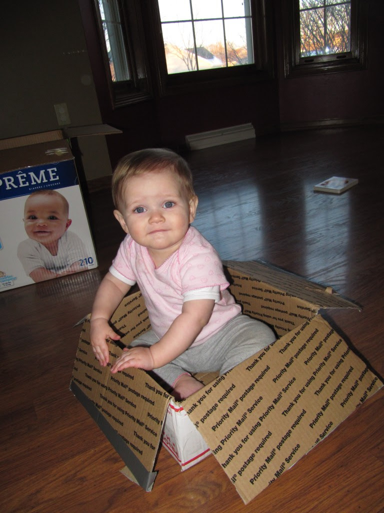 """Cambee in a box! I almost sent this picture to Nana and said """"now all I need is some postage and I'll be on my way"""" But we'd have to find a box to fit mommy too..."""