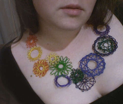 Love the spirograph effect but maybe only use 3 for necklace or smaller for earrings?