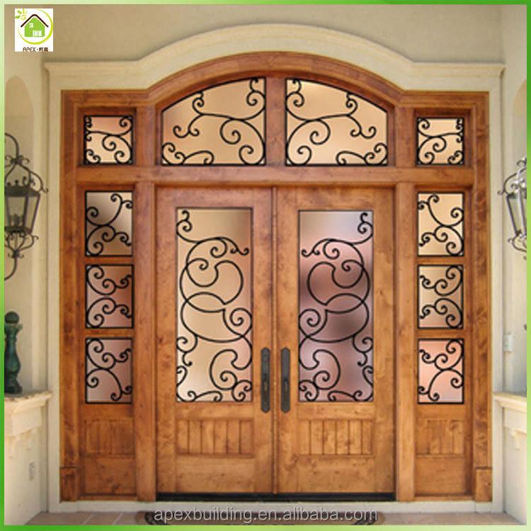 Teak Raw Wood Main Door Design Entrance Doors With Iron Grill Buy