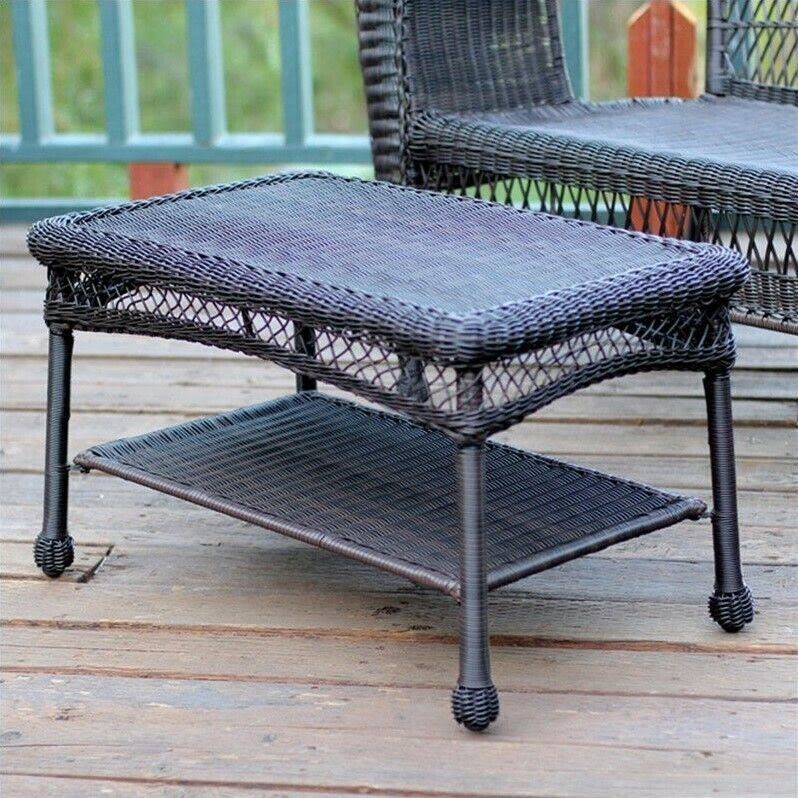 Jeco Wicker Patio Furniture Coffee Table Outdoor Tables in ...