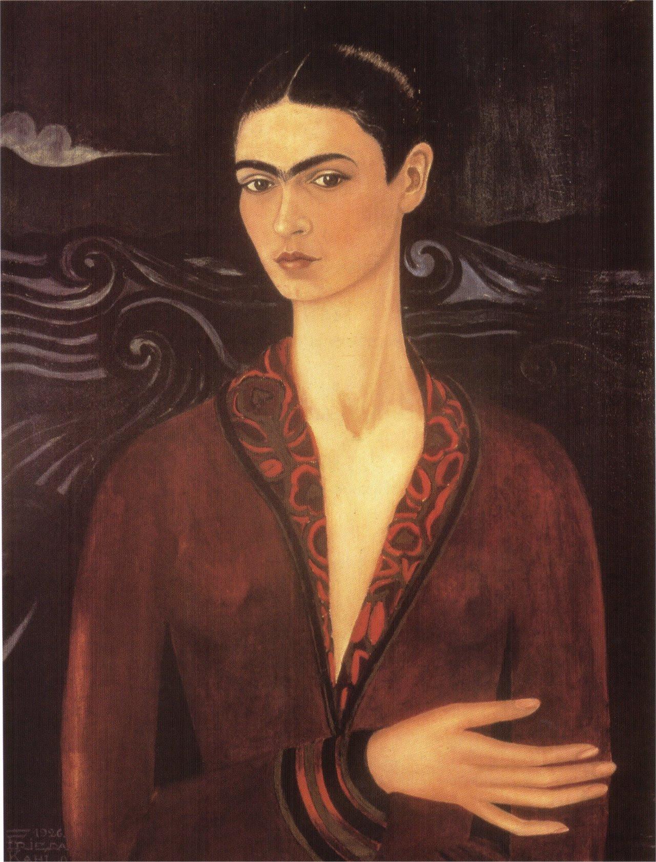 fridakahlo-art:Self-portrait in a Velvet Dress, 1926 Frida Kahlo