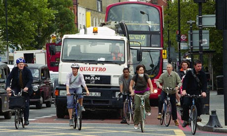 Cyclists commuting in London