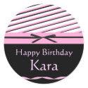 Pink and Black Striped Bows Invitation Stickers sticker
