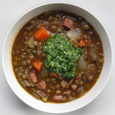 lentil soup w pesto