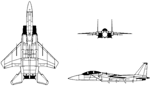 Three view diagram of the F-15 Eagle.