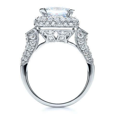 Baguette Side Stones Princess Cut Engagement Ring   Vanna