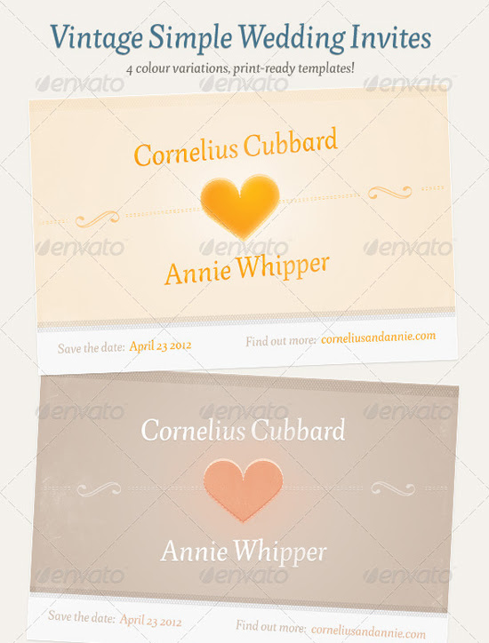 Vintage Simple Wedding Invitation Template