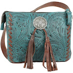 American West 7316789 Lariats & Lace Multi-Compartment Crossbody Dark Turquoise