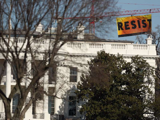 A 70-foot 'Resist' banner is now hanging near the White House