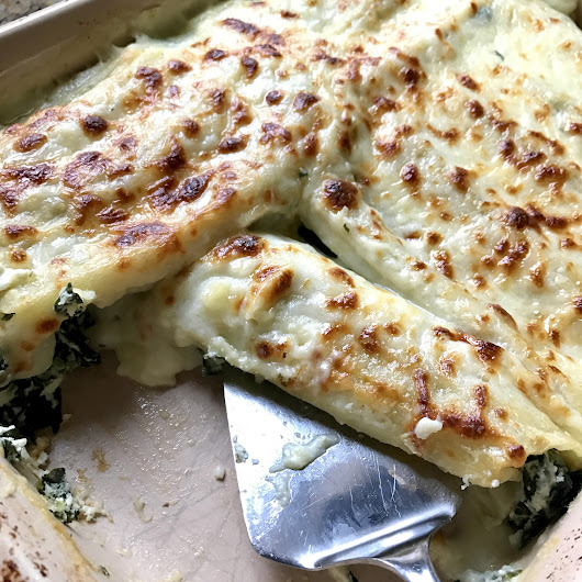 Spinach Manicotti with Bechamel Sauce - Girl Gone Mom