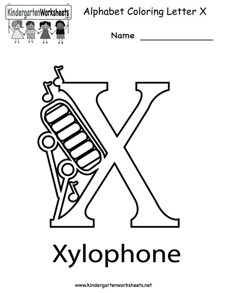 Kindergarten Letter X Coloring Worksheet Printable