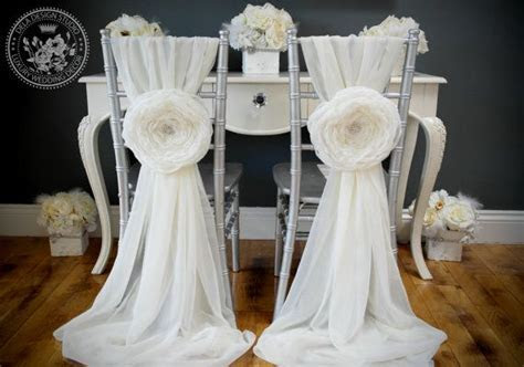 2 Wedding Large Chiffon Fabric Flower   Wedding Chair