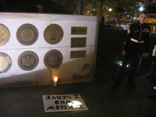 At the Vietnam Veterans Memorial, in Chicago, after the silent, candlelight march