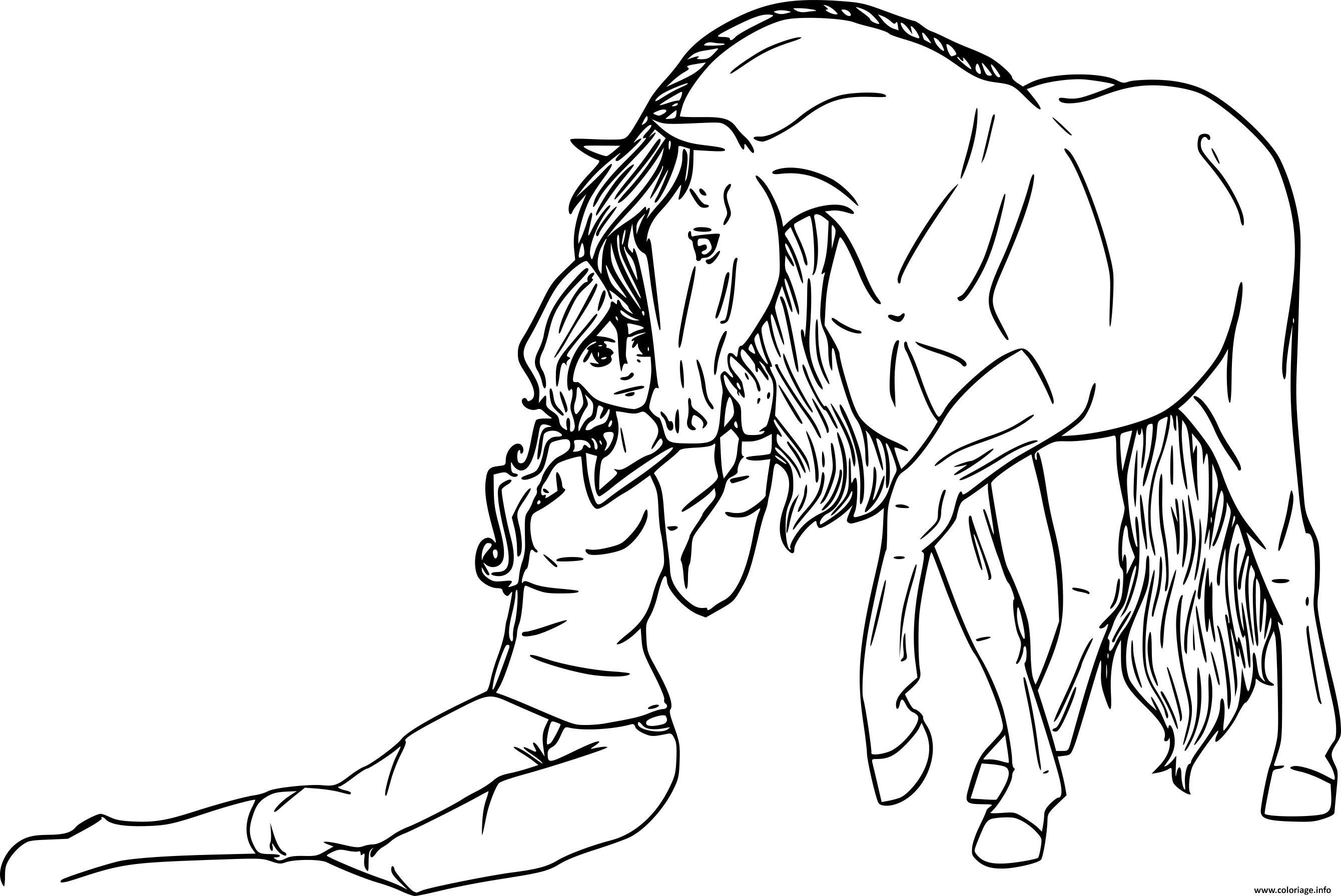 Coloriage une fille se confie a son cheval