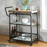 Furniture of America Herman Industrial Antique Black 2-Shelf Serving Cart