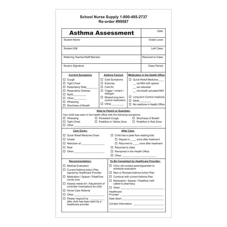 Asthma Assessment Forms (100/Pkg)