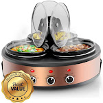 MegaChef MC-1103 1.5 qt. Round Triple Slow Cooker & Buffet Server with 3 Ceramic Cooking Pots & Removable Lid Rests - Brushed Copper & Black