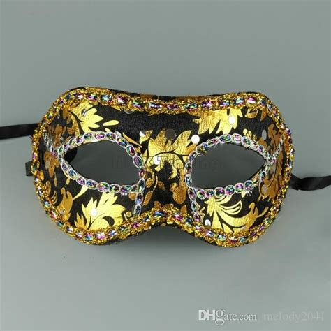 cheap masquerade mask gold face  border mask unisex