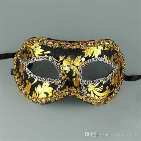 cheap masquerade mask gold face  border mask unisex