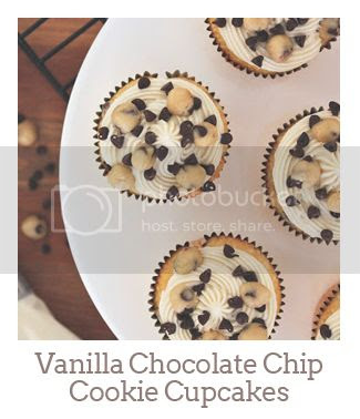 """Vanilla Chocolate Chip Cookie Cupcakes"""