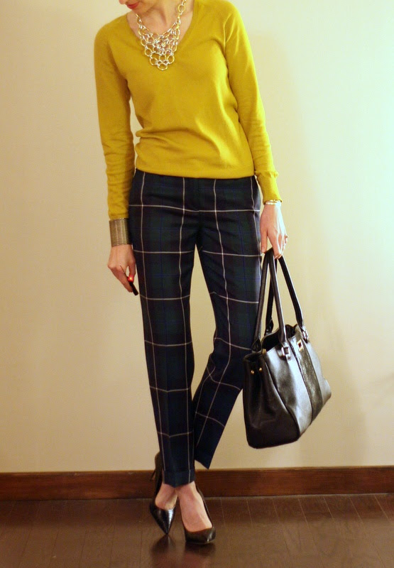 plaid pants and mustard
