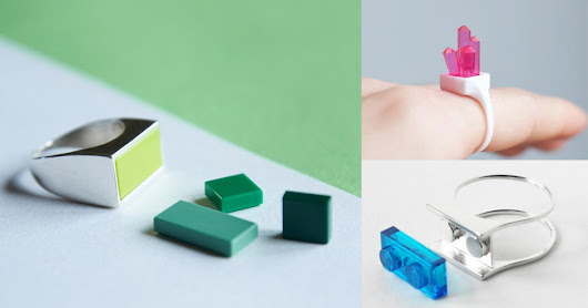 3D-Printed Legos Snap Into Place in Hintlab's Line of Playful Rings and Earrings