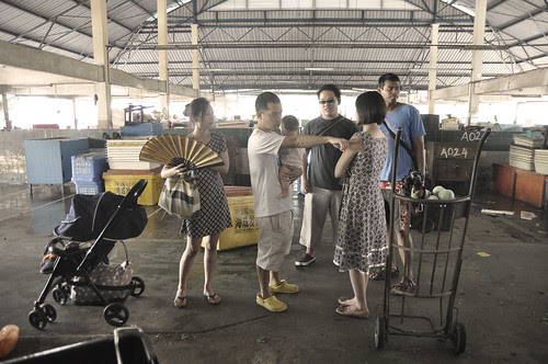 Shooting a scene at the market