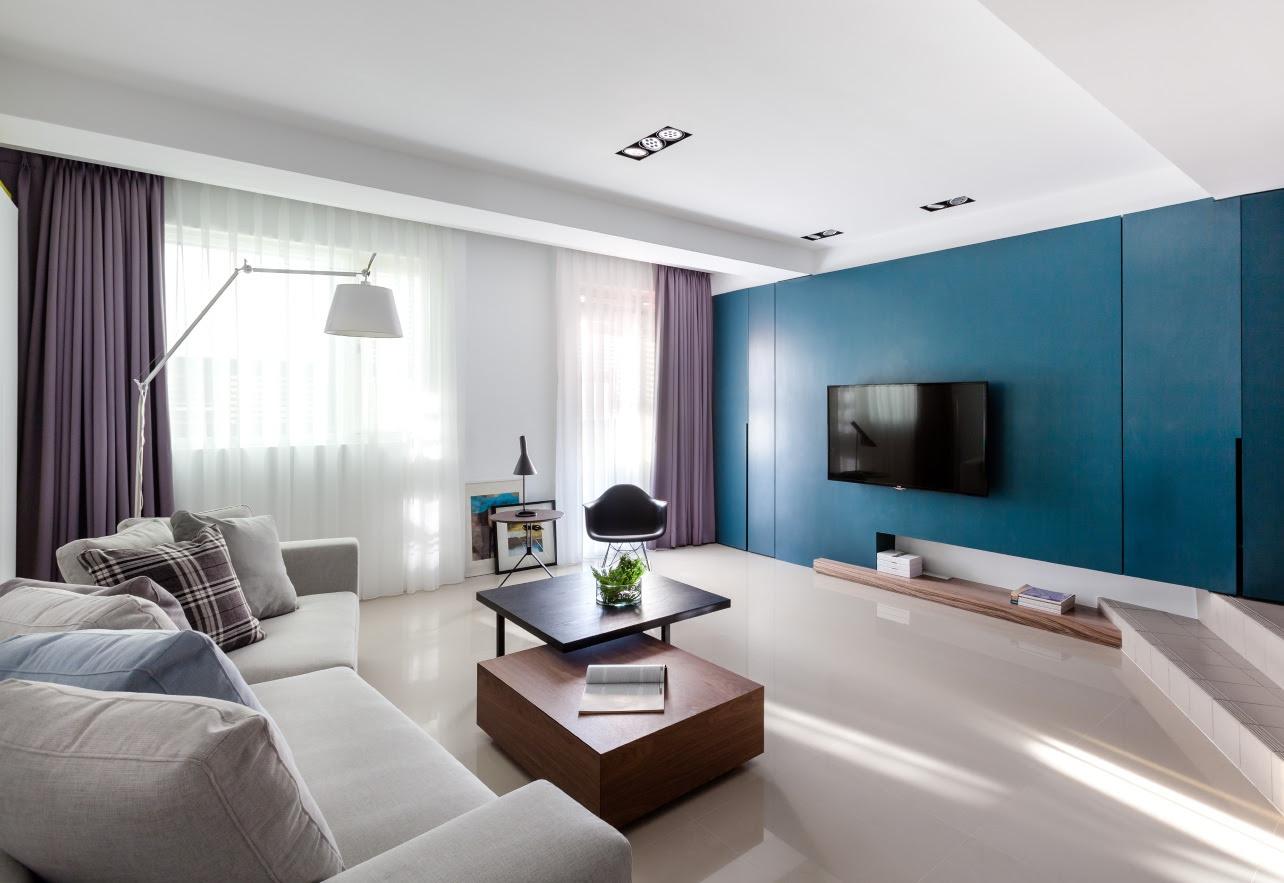 Blue purple living room  Interior Design Ideas.