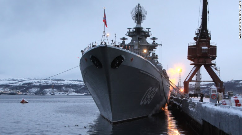 SEVEROMORSK, RUSSIA - JANUARY 10: The heavy nuclear-powered missile cruiser Pyotr Veliky is seen at the Russian Northern Fleet's base January 10, 2013 in Severomorsk, Russia. Russian President Vladimir Putin awarded the crew of the Pyotr Veliky the Nakhimov order. (Photo by Sasha Mordovets/Getty Images)