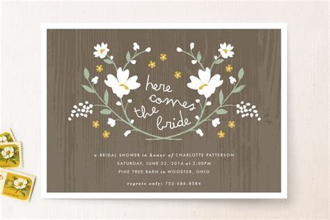 Floral Inspired Bridal Shower Invitations   Rustic Wedding