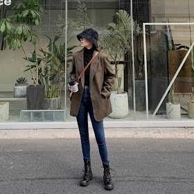 Fashion Autumn Women Stripe Woolen Blazers and Jackets Work Office Lady Suit Slim Double Breasted B