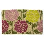 Entryways Dahlias Handmade Hand-stenciled All-natural Coconut Fiber Coir Doormat 18 X 30 X 75