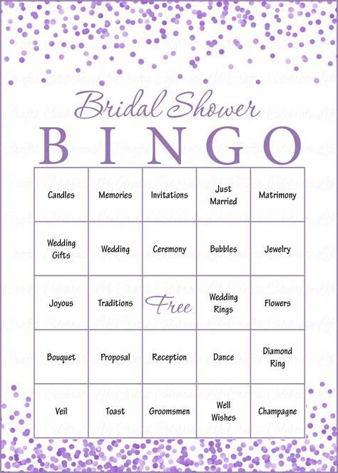 Purple Confetti Bridal Shower Game Download for Wedding