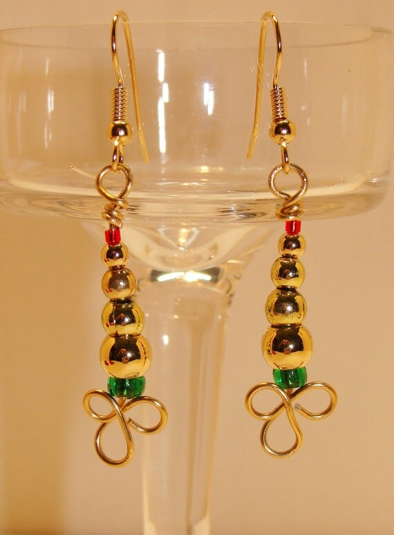 Goldtone Christmas Tree Earrings