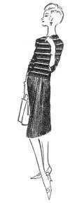 """Modelo composto por pulôver listrado e saia de jérsei, publicado em 6 de abril de 1958, na """"Folha da Manhã"""""""