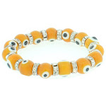 Orangy Evil Eye Bead Bracelet