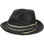 Scala MS324 Men's Paper Braid Toyo Fedora Hat, Patterned Grosgrain Trim Details for Warm-weather, Medium, Black