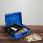 Cash Box Locking Money Safe with Removable Slot Coin Tray and Combination Entry for Yard Sales, Markets and Concession Stands by Stalwart (Blue)