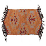 Saverio Corrales Susnet Table Runner With Faux Leather Trim, Fringe - Multicolor 14x72