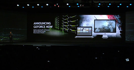 NVIDIA brings GeForce Now cloud gaming to PCs Mac and low-end PC users can now play high end games over the cloud.  Ever wanted to be a PC gamer, but didn't want to buy a gaming PC? NVIDIA's Jen-Hsun Haung wants your number. Taking the stage at CES today, NVIDIA's CEO announced GeForce Now for PC and Mac -- an offshoot of its cloud gaming service aimed at prospective PC gamers. Despite sharing the same name as the streaming service it offers to NVIDIA Shield users, GeForce Now for PC isn't a gaming subscription service. It's a server /rental/ program.   Users of GeForce Now for PC won't load up a streaming app and pick through a list of games -- they'll load up Steam, Origin, UPlay or other PC game providers and purchase games directly from the distributor. Then they'll run that game on NVIDIA's GRID servers through GeForce Now for an hourly fee. The result is a setup that, in the stage demo, looks remarkably like running games on a local machine.   The idea seems neat, but offloading your gameplay to the cloud isn't cheap: NVIDIA says GeForce Now will charge $25 for 20 hours of play, and that doesn't include the cost of the games. If you only played two hours a day, you'd spend $912 for a year of NVIDIA GeForce Now gaming. Still, if you really don't want to buy a gaming machine with that cash, GeForce Now for PC and Mac will start rolling out in March.