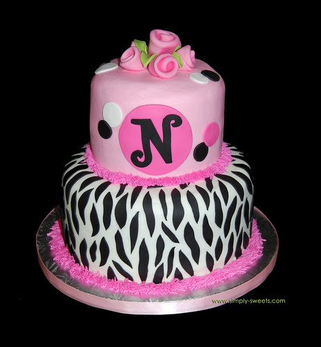 pink and black monogram zebra birthday cake