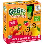 Gogo Squeez Fruit & Veggies On The Go Pedal Peach Pouches 4ct - 3.2oz