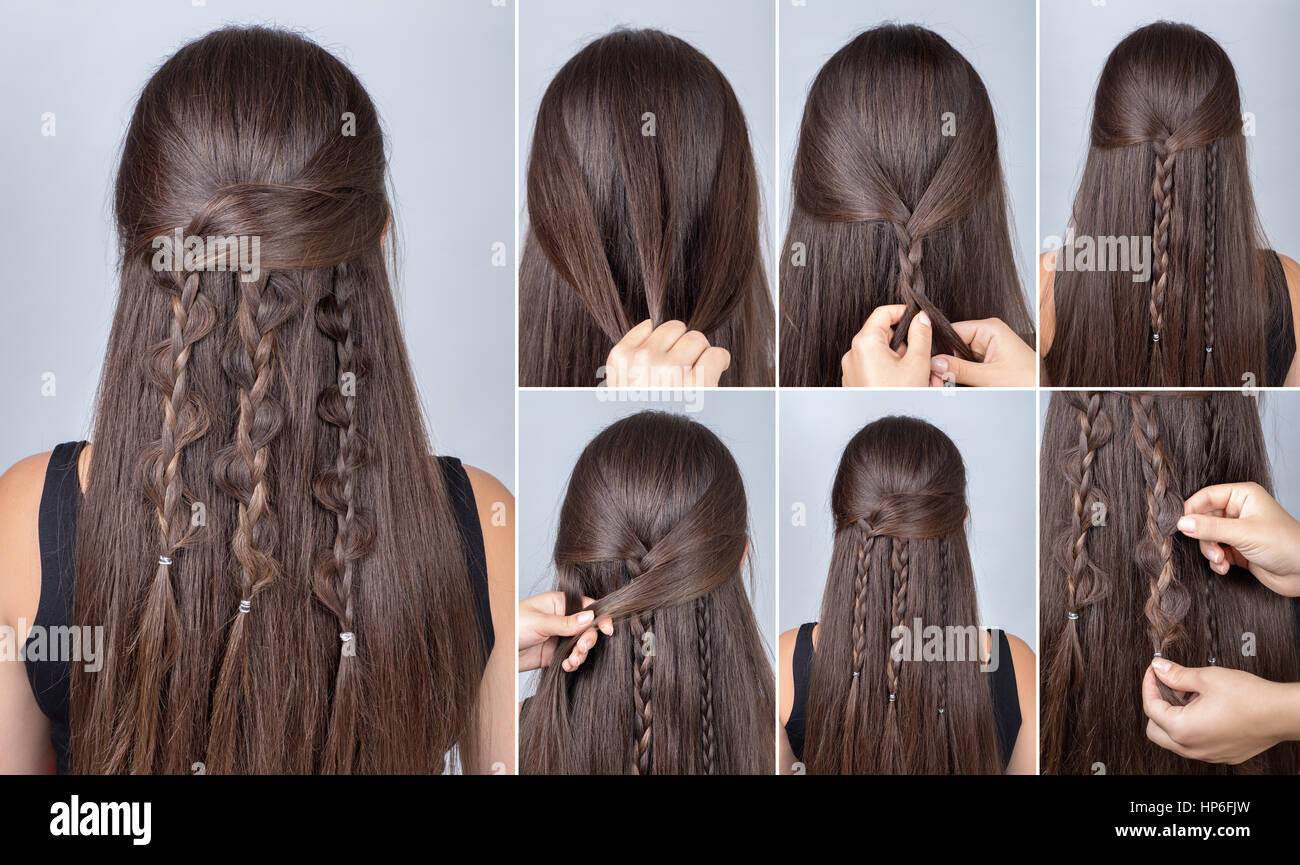 Prozess Des Webens Zopf Frisur Für Lange Haare Boho Stil Frisur