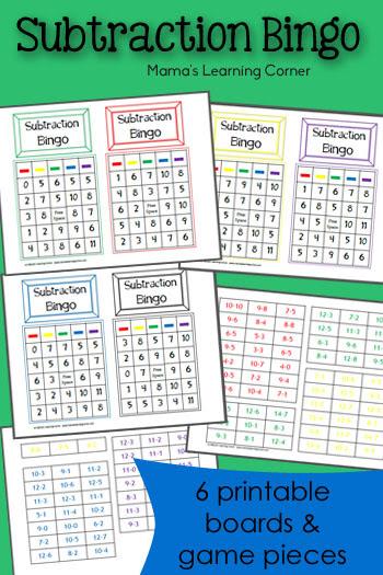 Subtraction Bingo - Mamas Learning Corner
