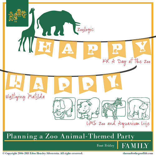 Zoo-Themed Fonts for a 1st Birthday Party