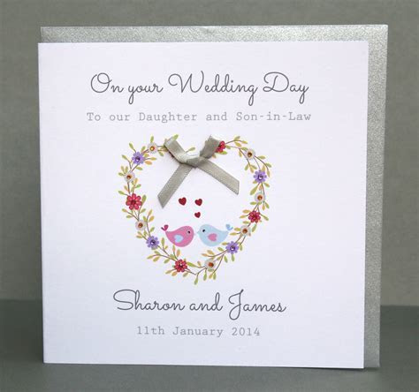 Handmade Personalised Wedding Day Card   Flower Heart   eBay